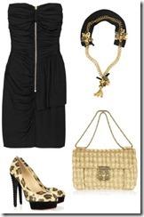 komplekti ar melno kleitu