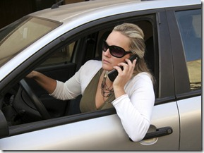 Woman, Car and Cell phone